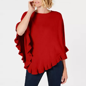 Red poncho with ruffles photo
