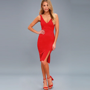 Red cocktail dress with slit photo