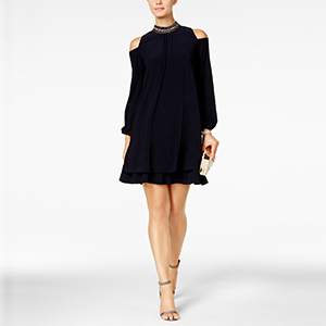 Navy party dress with cold-shoulders and embellished neckline photo