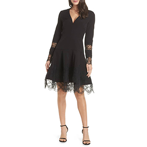 Black fit and flare dress photo