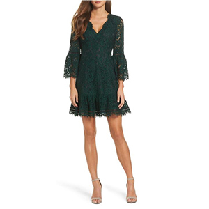 Woman wearing a green lace dress from Nordstrom photo
