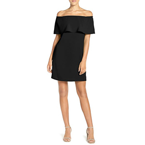 Woman wearing a short black dress with off-the-shoulder sleeves photo