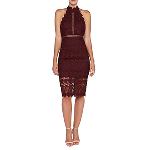 Lace dress in burgundy photo