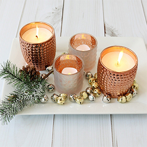 Set of four gold candles photo