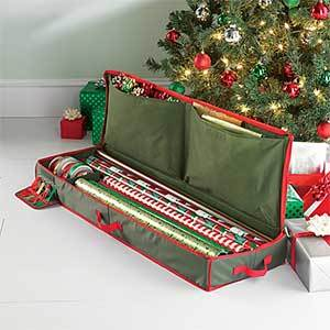 A bag that holds holiday wrapping paper, ribbons, and bows. photo