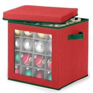 A red box for storing 48 Christmas ornaments. photo