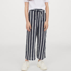 Girls navy blue and white striped tie pants from H&M photo