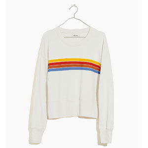 White with stripes crewneck sweatshirt from Madewell photo