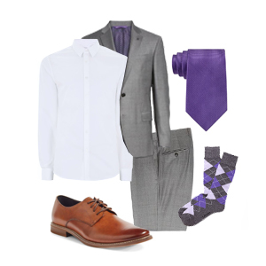 Grooms outfit with violet accents photo