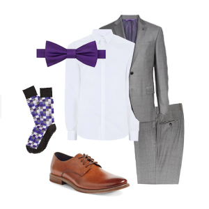 Groomsmen apparel with violet accents photo