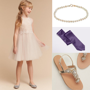 Flower girl dress with violet accessory photo