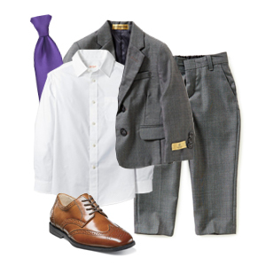 Ring Bearer outfit with violet tie photo