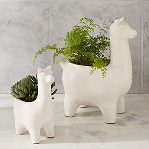 Set of two white planters shaped like llamas with plants in them photo