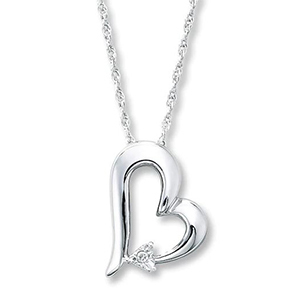 Silver heart necklace with diamond from Jared photo