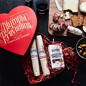 Red heart shaped box with salamis and pepperettes from Food52 photo