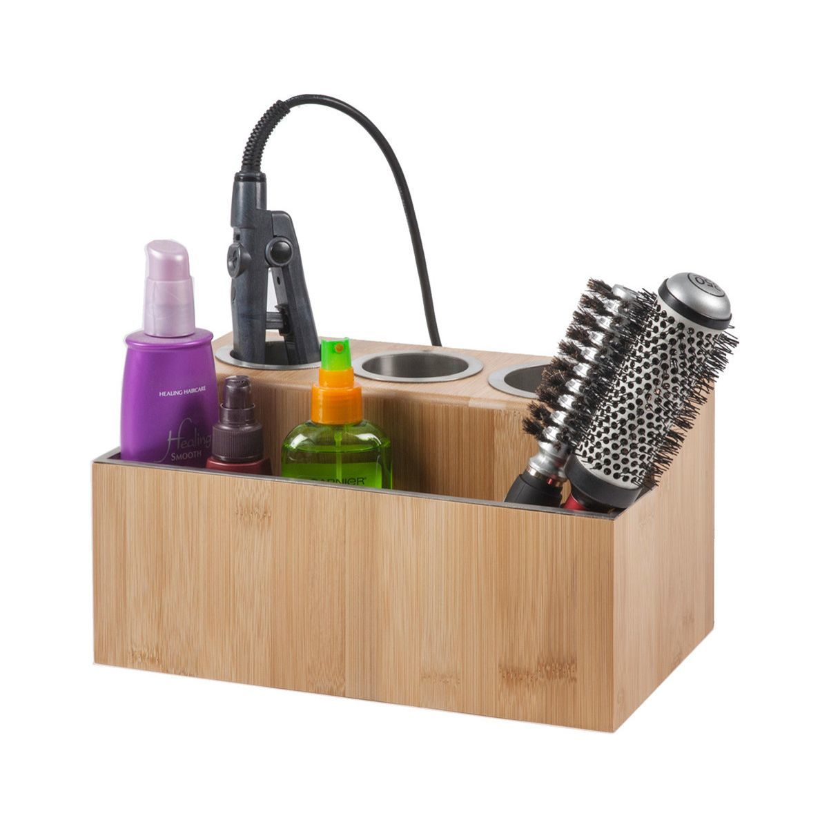 Bamboo organizer to store hair products and tools photo