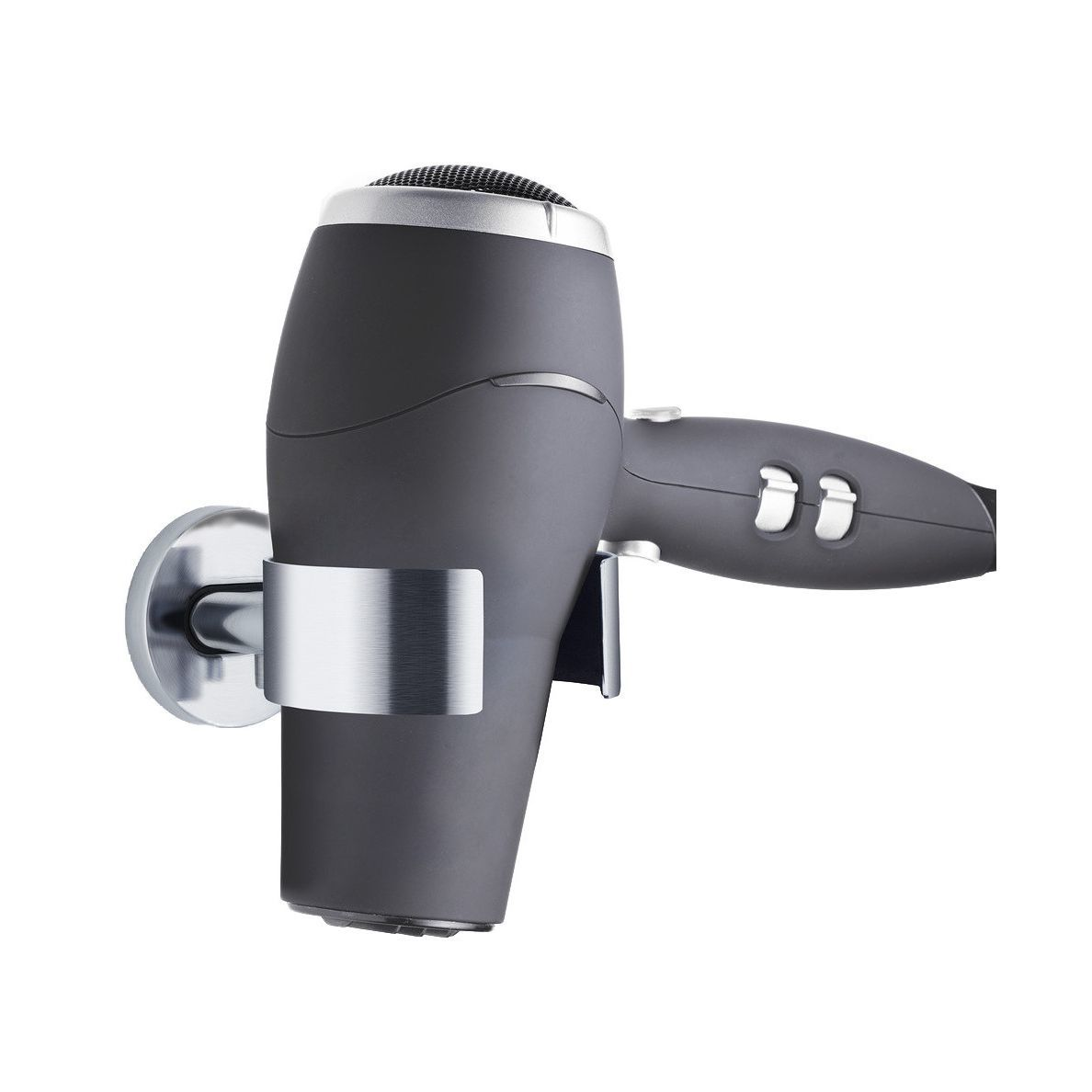 Wall-mounted hair dryer holder with chrome finish photo
