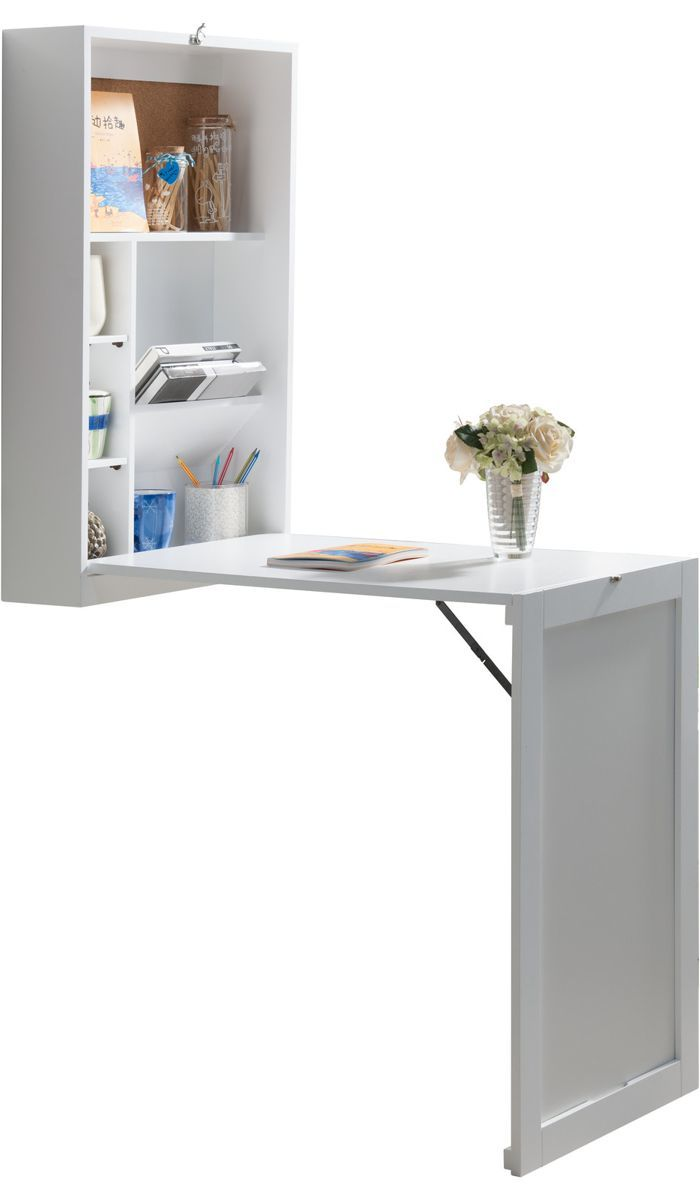 White writing desk that folds into the wall for storage photo