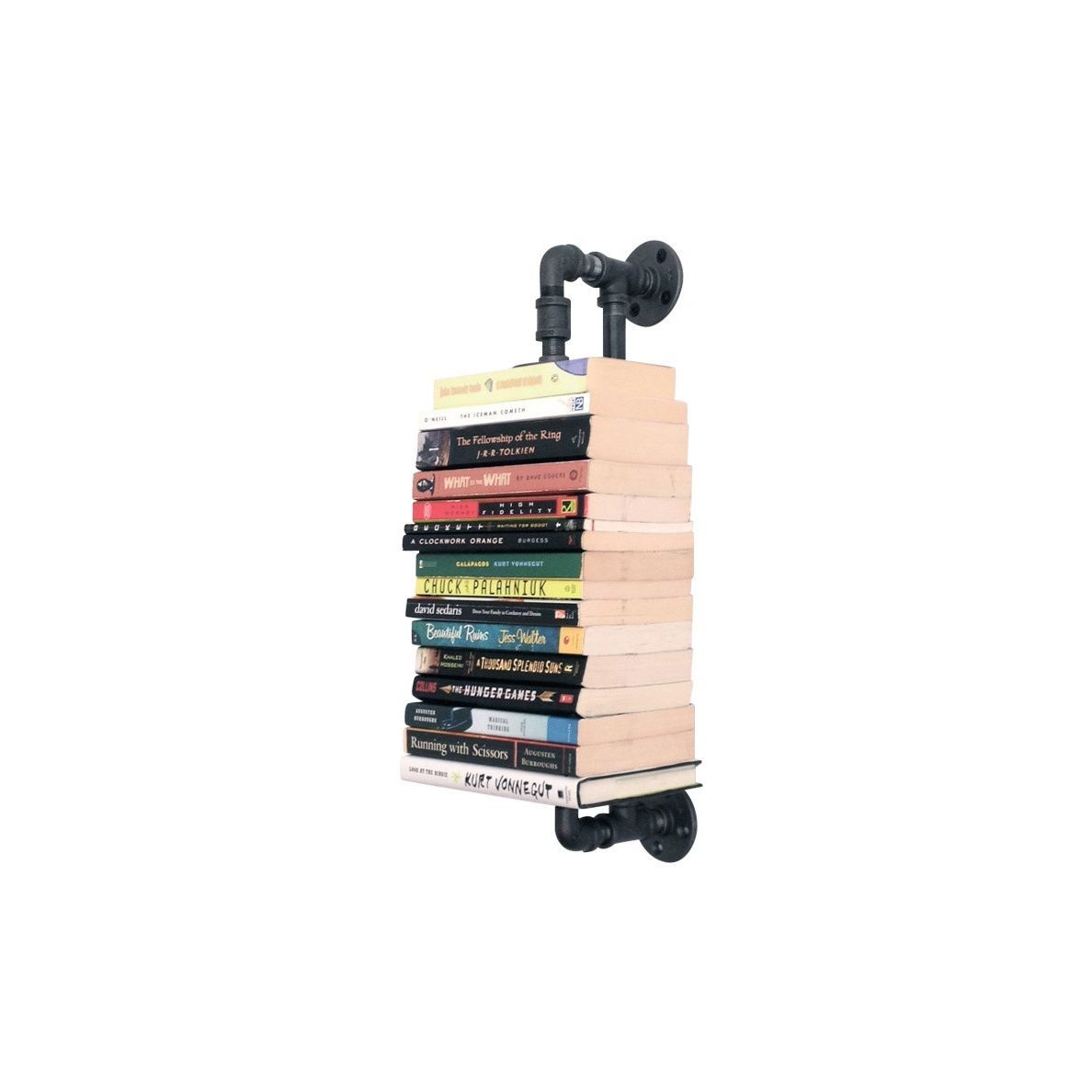 Pipe wall shelf for housing books; takes up less space than a bookshelf photo