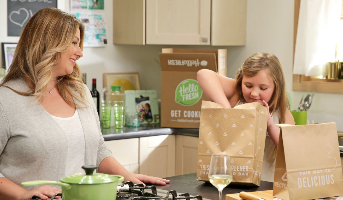 Mother and daughter opening HelloFresh packages photo