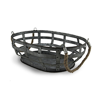 Galvanized Woven Metal Basket with Rope Handles photo