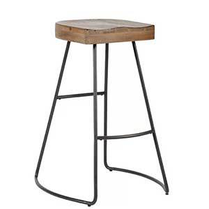 The solid wood design contrasts with the gray metal frame for a rustic-inspired look, while the thick wooden seat is sturdy and comfortable. photo