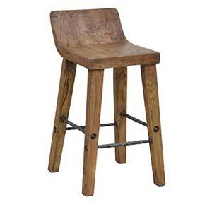 This piece is made of reclaimed wood, adding a little extra personality to each barstool. photo