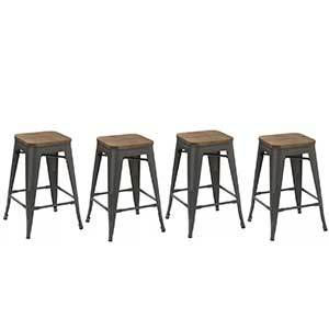 Elm wood sits on top of solid steel, not only adding to the raw appearance but also making these barstools durable. photo