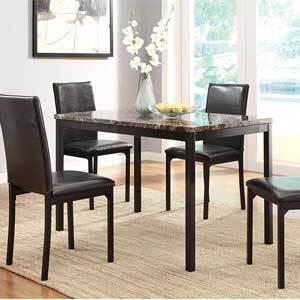 The tabletop is constructed of richly hued faux marble and paired against black metal for a sleek yet elegant look. Your family will feel comfortable sitting in the vinyl chairs, which add a touch of texture to this set. photo