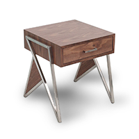 Dark wood end table with stainless steel accents photo