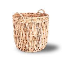 Tall, thin light brown wicker basket with two handles on either side of the lid photo