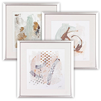 Three textured silver picture frames with art photo