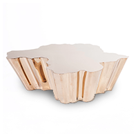 Gold coffee table with mirror finish on edges photo