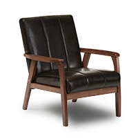 Black lounge chair with faux leather fabric photo
