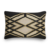 Throw pillow with black and tan tribal pattern photo