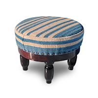 Footstool with blue and tan upholstery photo