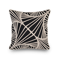 Throw pillow with black and white embroidery photo