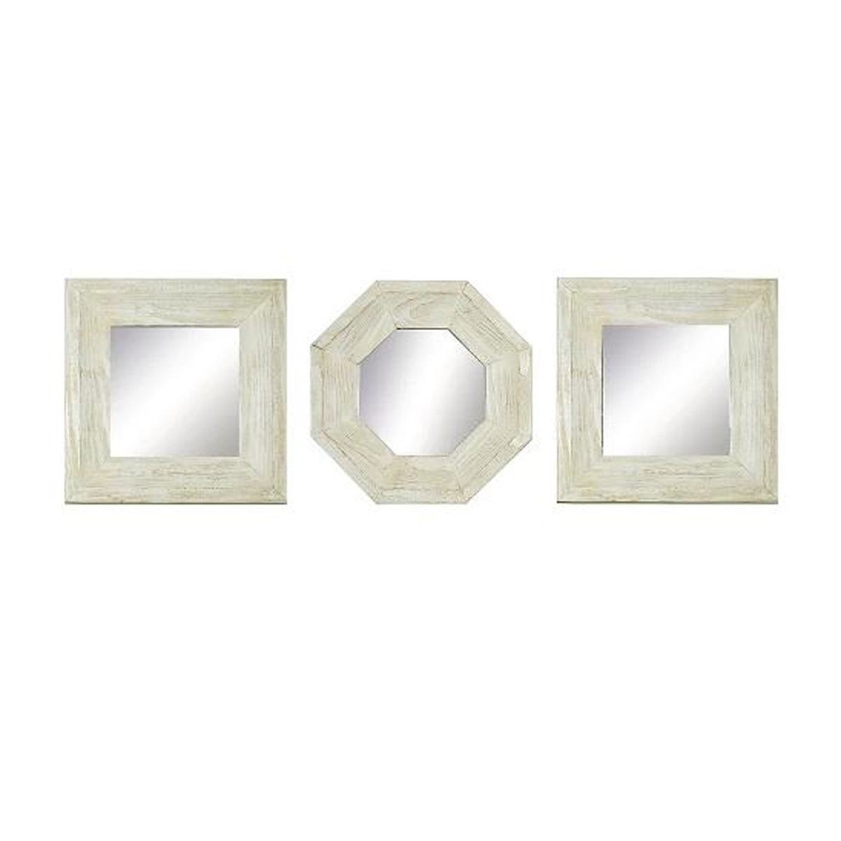 two square mirrors and one octagonal mirror with white wood frames photo