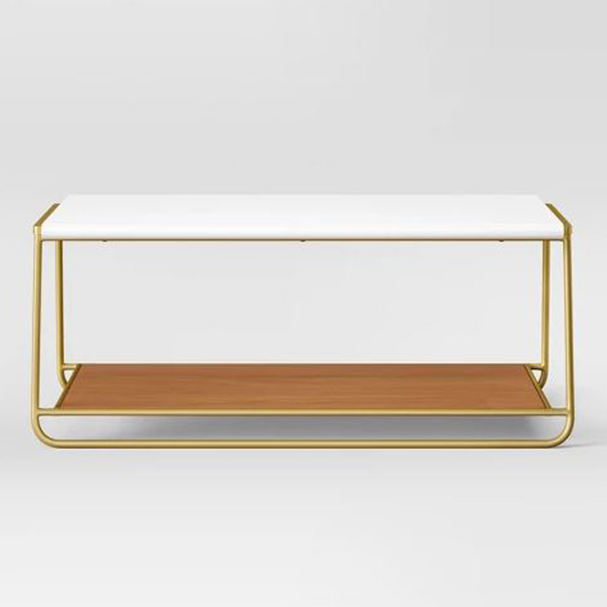 gold metal coffee table with white top and wood bottom shelf photo