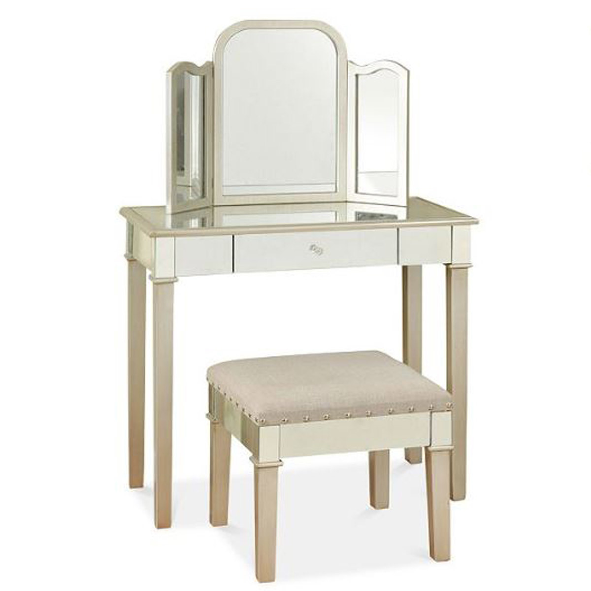 Cream vanity and bench with trifold mirror photo