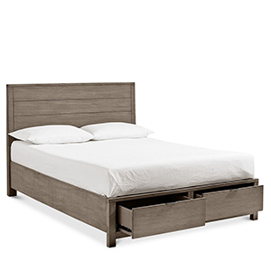 White bed on a wooden frame with drawers from Macy's photo