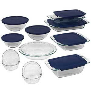 Overstock Pyrex bakeware set with blue lids photo
