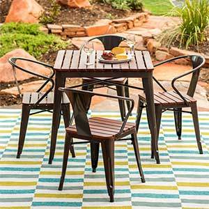 Small wood dining set with four chairs photo