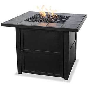 Black square fire pit with tile on top photo