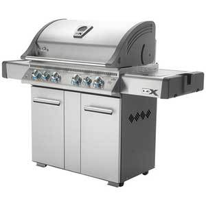 Silver grill with six dials and a prep station photo