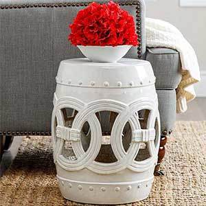 White Overstock garden stool with cut-out design photo