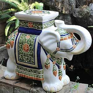 Porcelain elephant stool with a colorful design photo