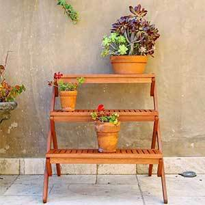 Wooden plant stand with three shelves from Overstock photo