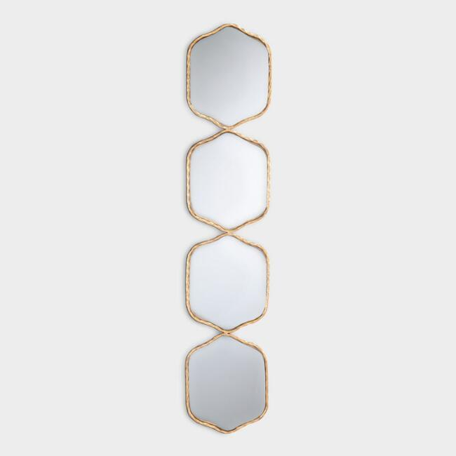 Vertical Stacked Gold Wall Mirrors photo