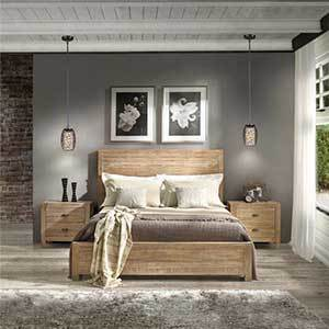 Montauk wood panel bed for a queen-size mattress photo